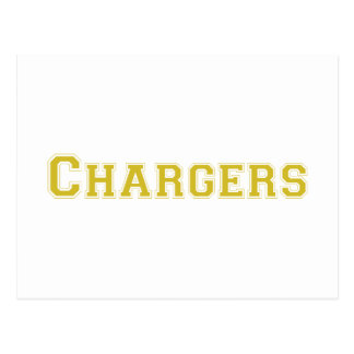 Chargers square logo in gold post cards