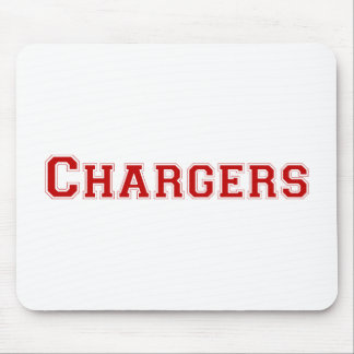 Chargers square logo in red mouse pads