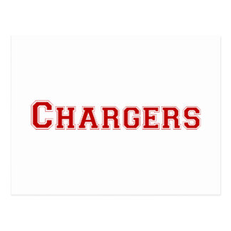 Chargers square logo in red postcard