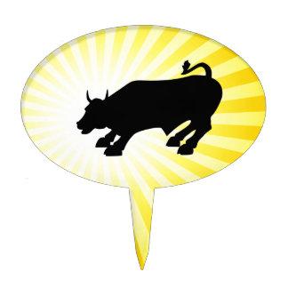 Charging Black Bull of Wall Street Cake Topper