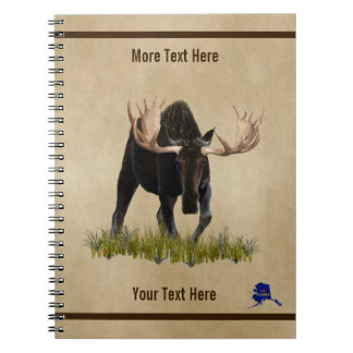 Charging Bull Moose On Old Paper Spiral Note Book