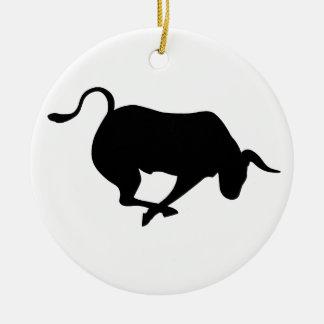 Charging Bull Round Ceramic Decoration