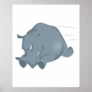 charging mad rhino poster