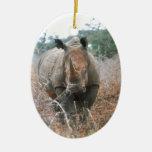 Charging Rhino Ceramic Oval Decoration
