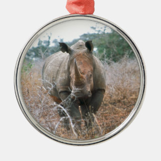 Charging Rhino Silver-Colored Round Decoration