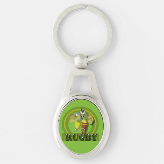 Charging Rugby Player Oval Keychain Silver-Colored Oval Key Ring