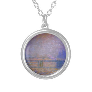 Charing Cross Bridge, The Thames 02 by Claude Mone Round Pendant Necklace