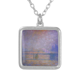 Charing Cross Bridge, The Thames 02 by Claude Mone Square Pendant Necklace