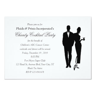 Charity Dinner Black Tie Event 11 Cm X 16 Cm Invitation Card