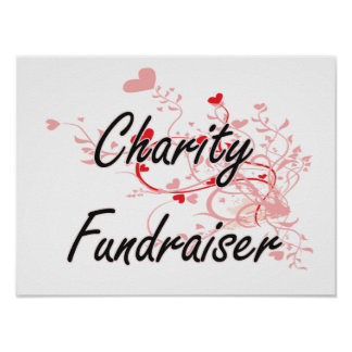 Charity Fundraiser Artistic Job Design with Hearts Poster