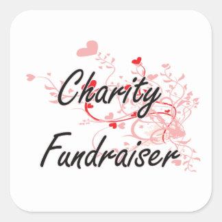 Charity Fundraiser Artistic Job Design with Hearts Square Sticker