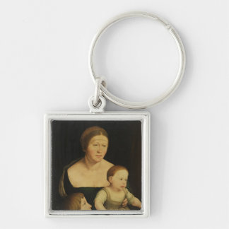 Charity or The Family of the Artist, c.1528 Silver-Colored Square Key Ring