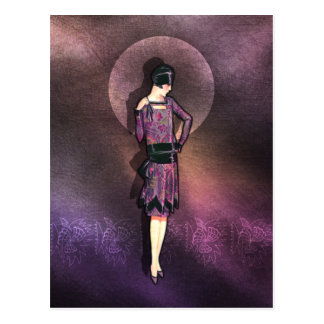 Charla - 1920s Fashion in Mauve and Plum Postcard