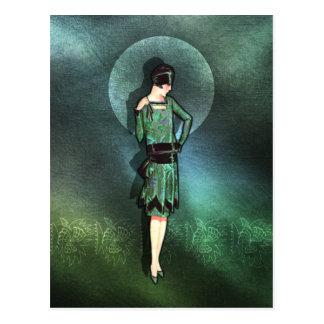 Charla - 1920s Fashion in Sage Green and Aqua Post Card