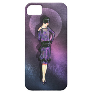 Charla - 1920s Fashion in Steel Blue and Purple iPhone 5 Cases