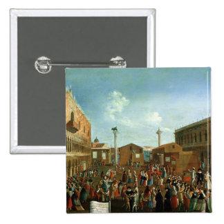 Charlatans in the Piazzetta San Marco, Venice 15 Cm Square Badge