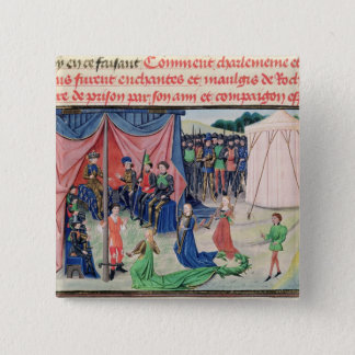 Charlemagne and his barons being enchanted 15 cm square badge