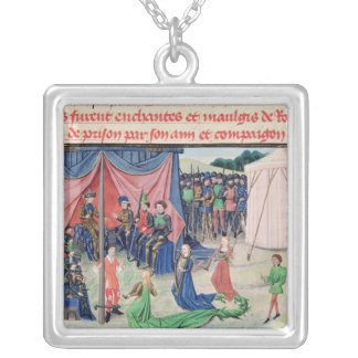 Charlemagne and his barons being enchanted silver plated necklace