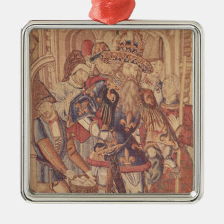 Charlemagne  Tournai Workshop Silver-Colored Square Decoration