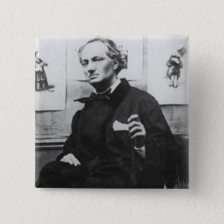 Charles Baudelaire  with Engravings, c.1863 15 Cm Square Badge