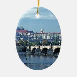 Charles Brdge Prague Castle Tom Wurl.jpg Ceramic Oval Decoration