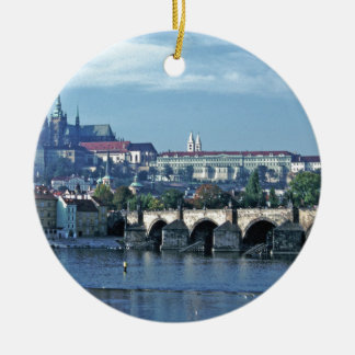 Charles Brdge Prague Castle Tom Wurl.jpg Round Ceramic Decoration
