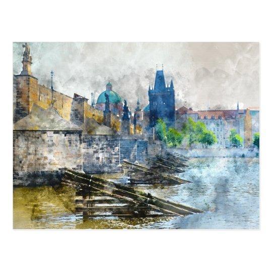 Charles Bridge in Prague Czech Republic Postcard