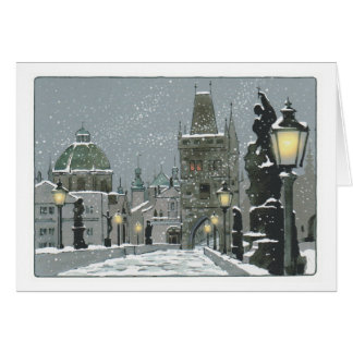 Charles Bridge Winter greeting card
