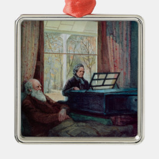 Charles Darwin and his wife at the Piano Christmas Ornament