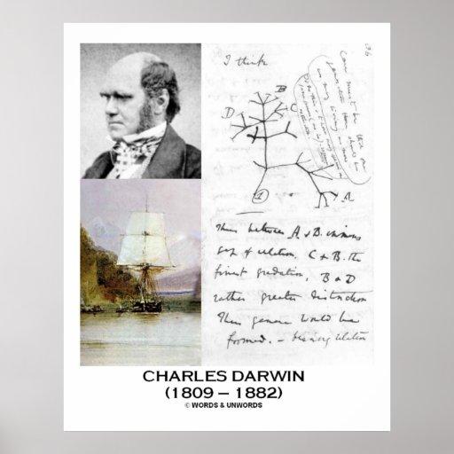 Charles Darwin Collage HMS Beagle Evolution Poster
