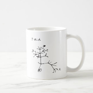 Charles Darwin - I Think (Black) Basic White Mug