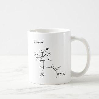 Charles Darwin - I Think (Black) Basic White Mug
