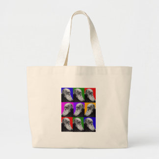 Charles Darwin Pop Art Gifts for All Ages Large Tote Bag