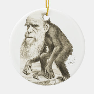 Charles Darwin the Monkey Man Round Ceramic Decoration
