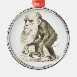 Charles Darwin the Monkey Man Silver-Colored Round Decoration