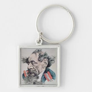 Charles Dickens astride the English Channel Silver-Colored Square Key Ring