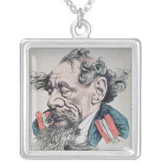 Charles Dickens astride the English Channel Silver Plated Necklace