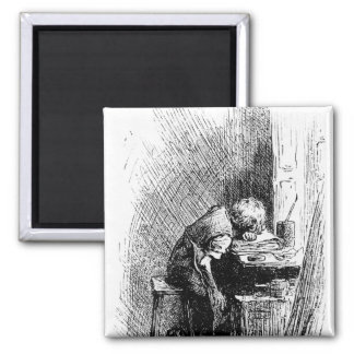 Charles Dickens at the Blacking Factory an Square Magnet