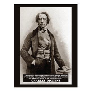 Charles Dickens on Habits quote postcard
