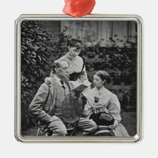 Charles Dickens with two of his daughters Silver-Colored Square Decoration