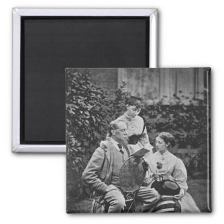 Charles Dickens with two of his daughters Square Magnet