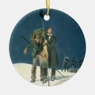Charles Fellows with William Hawes, Plants a Baton Christmas Ornament