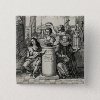 Charles II (1630-85) as Patron of the Royal Societ 15 Cm Square Badge