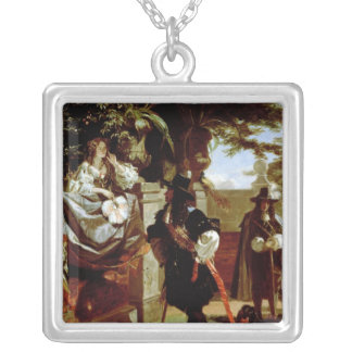 Charles II  and Nell Gwynne Square Pendant Necklace