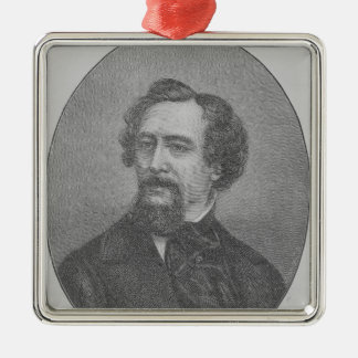 Charles John Huffam Dickens Silver-Colored Square Decoration