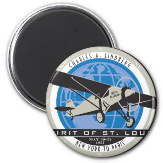 Charles Linberg Historic Flight 6 Cm Round Magnet