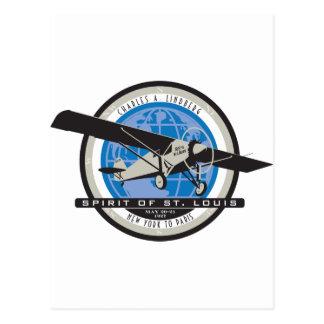 Charles Linberg Historic Flight Postcard