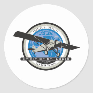 Charles Linberg Historic Flight Round Sticker