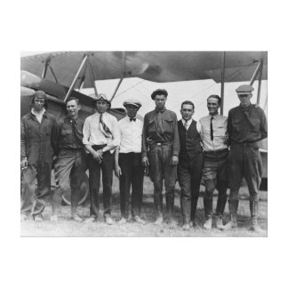 Charles Lindbergh with 7 men, including Canvas Print