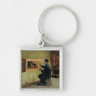 Charles Philippe Gevens, father-in-law of artist Silver-Colored Square Key Ring